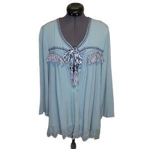 Knox Rose Embroidered Fringed Tie Shawl Cardigan